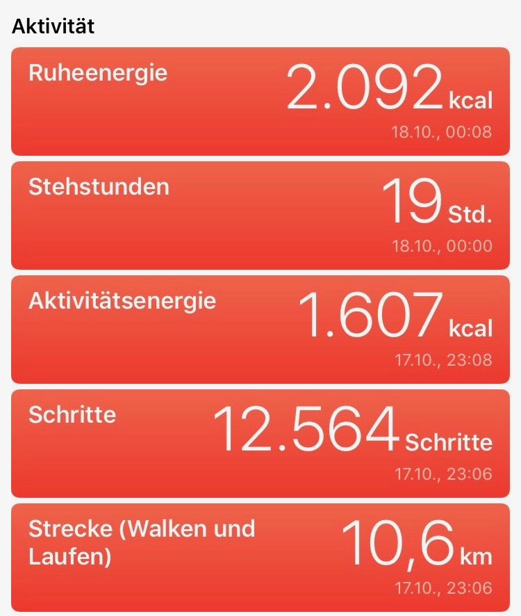 So bildet die Health-App die Aktivität eines Tages ab.