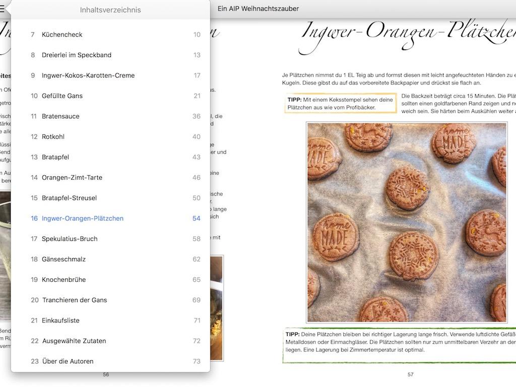 """Unser eBook """"Ein AIP Weihnachtszauber"""": Vorschau Kapitelansicht mit Inhaltsverzeichnis"""