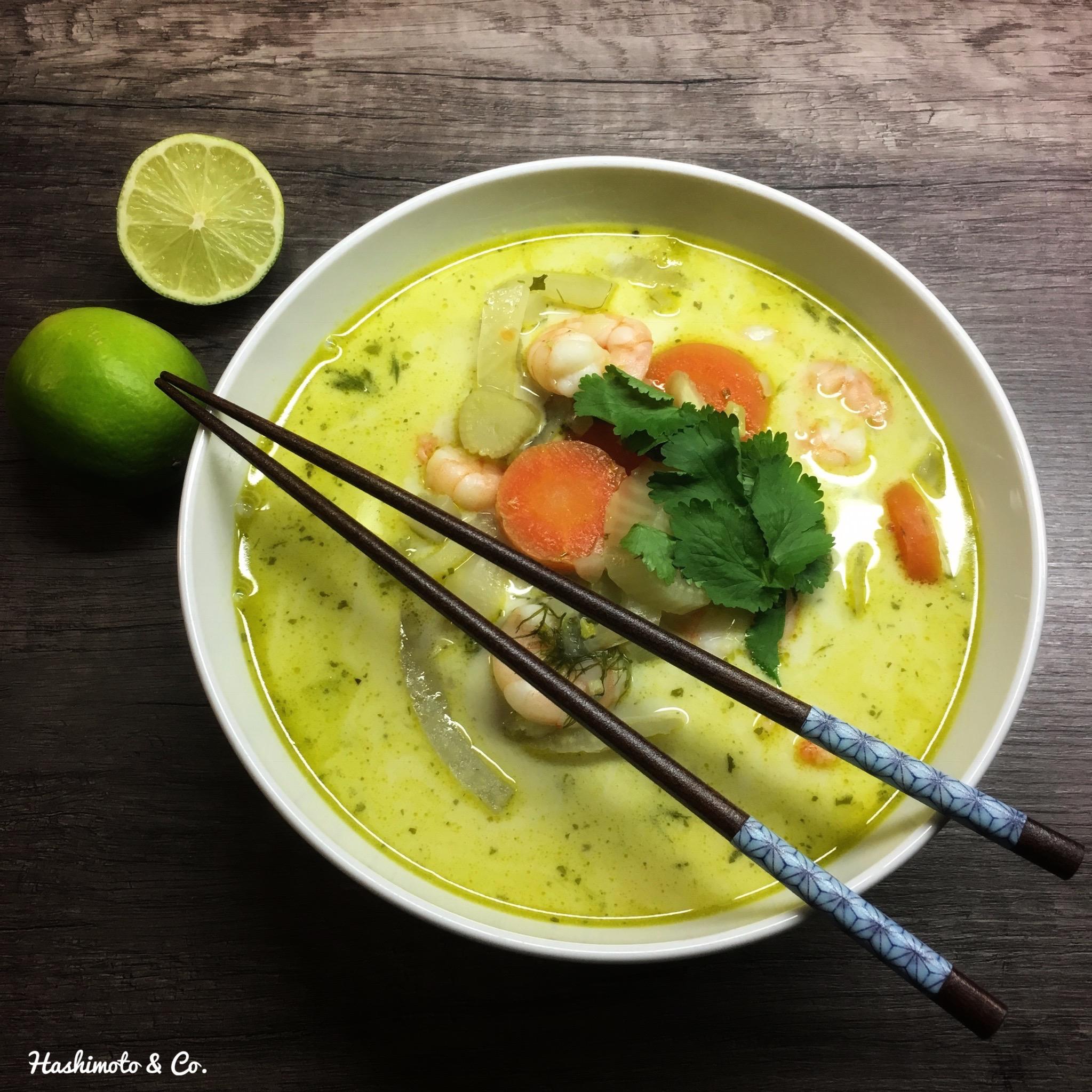 Fenchel-Kokos-Suppe mit Garnelen (AIP / PALEO)