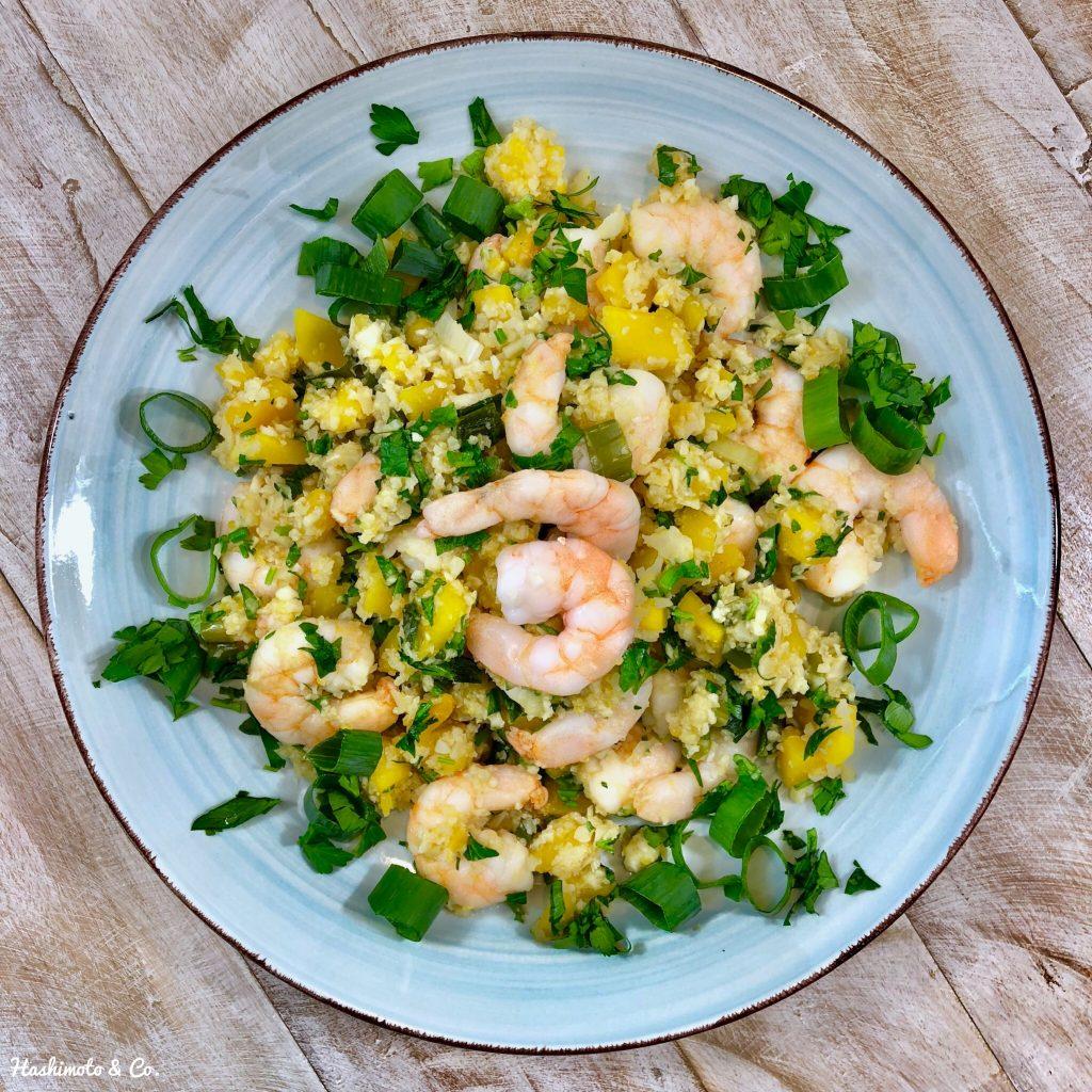 Blumenkohlreis mit Butternut-Kürbis und Shrimps AIP Paleo Glutenfrei