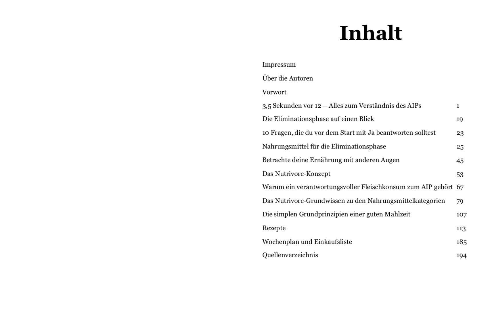 Screenshot Inhaltsverzeichnis aus dem Ratgeber