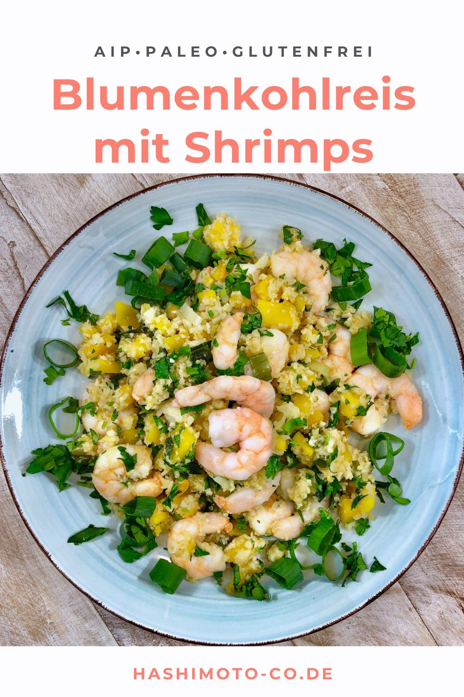 Blumenkohlreis mit Butternut-Kürbis und Shrimps